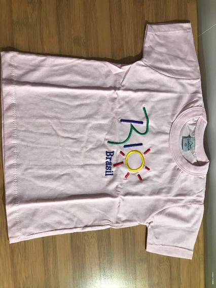Camiseta Infantil Rosa Sol Rio De Janeiro Dna Carioca Tam Pp