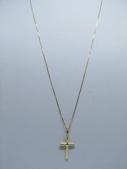 Corrente Veneziana 80cm + Pingente Crucifixo Ouro 18k Maciço