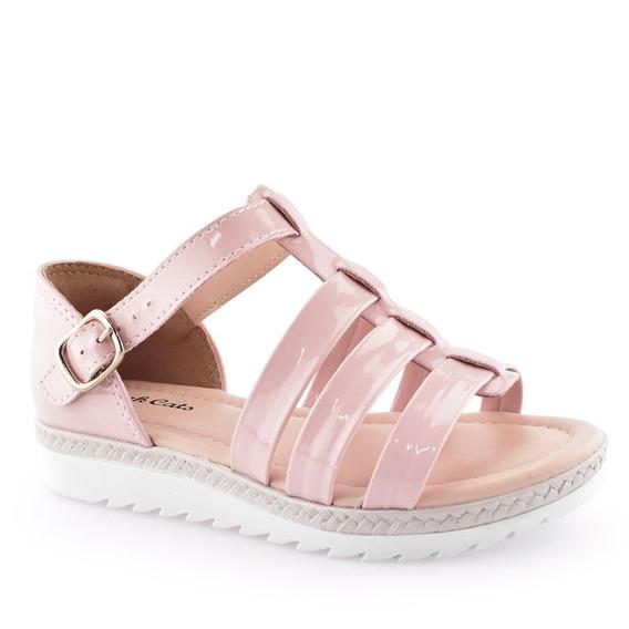 Sandália Infantil Tiras Flatform Pink Cats V0053 - 27 Ao 34