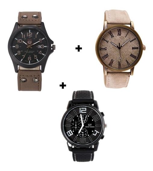 Kit 3 Relógios Masculinos Preto Marrom E Branco Baratos Top