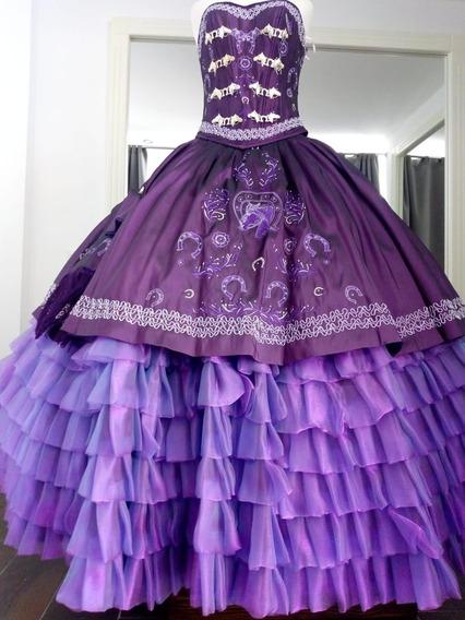 Vestido Para Fiesta Xv Años Charro Morado-violeta Oscuro