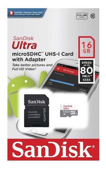Cartão De Memória Sandisk 16gb Micro Sd Ultra C/ Nf
