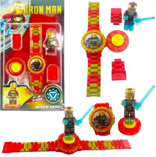 Relógio Infantil Homem De Ferro Lego Bloco Menino Lindo