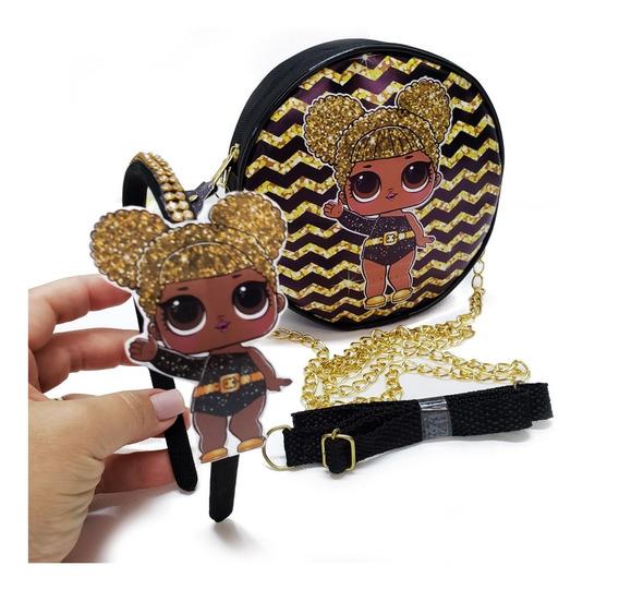 Bolsinha Infantil + Tiara Queen Bee Série Glitter