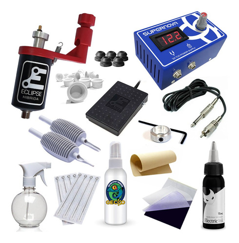 Kit Tattoo Rotativa Eclipse Fonte Digital E Electric Ink