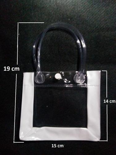 Kit C/ 5 Sacolinha Transparente Necessaire Alça E Botão