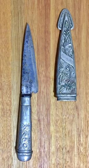Cuchillo Artesanal Funda De Metal Labrado
