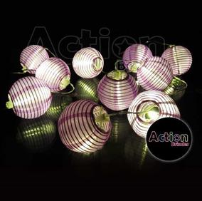 Cordão Luminária C/ 10 Mini Lanterna Japonesa Em Tecido