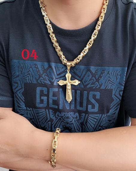 Colar Corrente Masculino Dourado Aço+pingente Cruz+pulseira