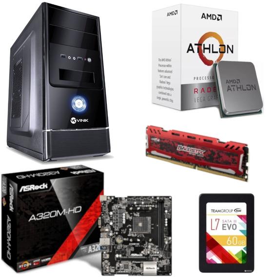 Pc Completo G1 One Athlon 200ge A320m Hd Bl 8gb Ssd 60gb