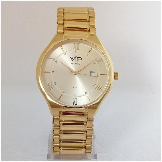 Relógio Masculino Vip Dourado Slim Luxo Original 12x S/juros