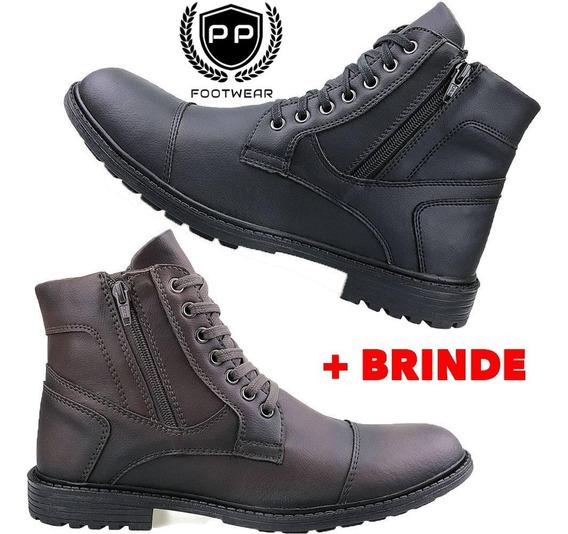Kit 2 Pares Coturno Masculino Sapato Bota Casual C/ziper