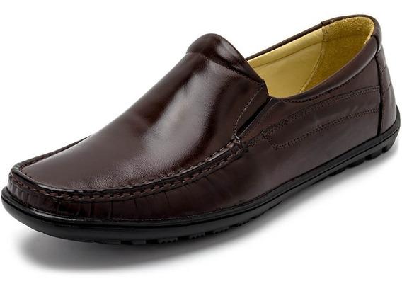 Sapato Mocassim Masculino Em Couro Conforto Ortopédico