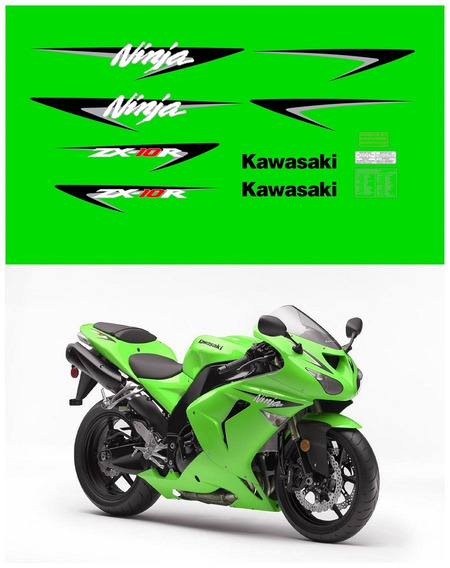 Kit Adesivos Moto Kawasaki Ninja Zx-10r 2007 Verde Ca-03404