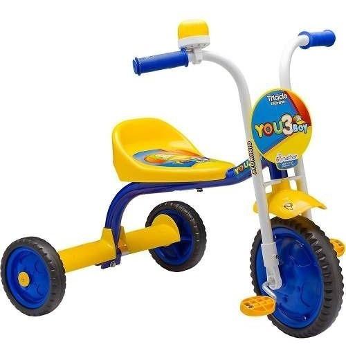 Triciclo Infantil You 3 Boy Nathor Amarelo Azul Menino