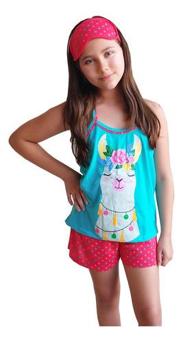 Baby Doll Infantil Alça Com Brinde Short Pijama Malha Verão