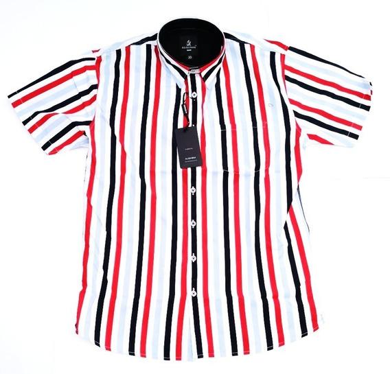 Camisa Elegante Alquimia Manga Corta Caballero Rayas Cam
