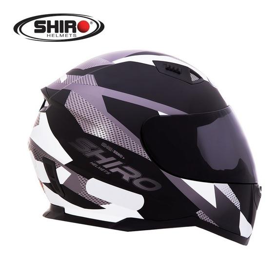 Capacete Shiro Sh 881 - Brno - Preto Fosco/branco