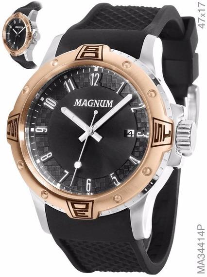 Relógio Magnum Preto Masculino Ma34414p
