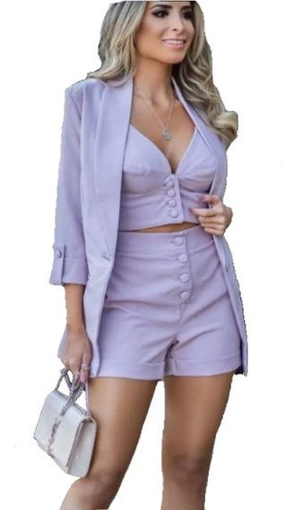 Conjunto Feminino 3 Peças Blazer Longo Cropped Short Curto
