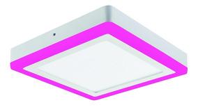 Kit 2 Plafon Quadrado Sobrepor Led 15w Branco Rosa Colorido