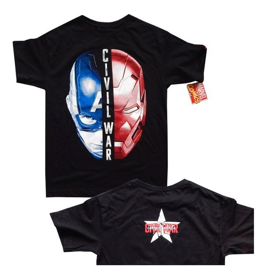Playera Civil War Capitan America Team Iron Man Marvel Casco