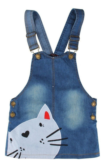 Jardineira - Vestido Jeans - Cat - Infantil