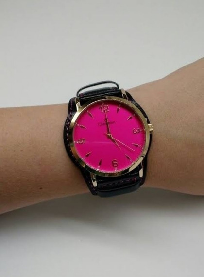 Relógio Champion Feminino Dourado Visor Rosa Cn20328j