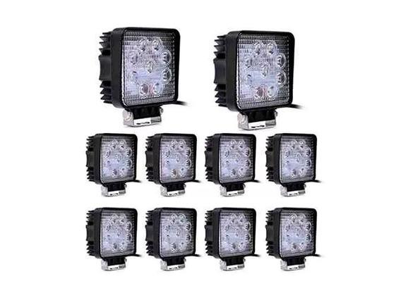 Caja X 10 Faros Reflectores 12v 24v 27w Led P/ Cosechadoras
