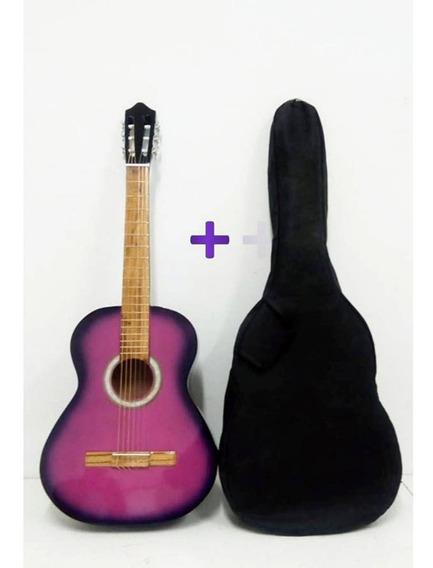 Guitarra Criolla Clasica De Estudio Rosa + Funda De Regalo