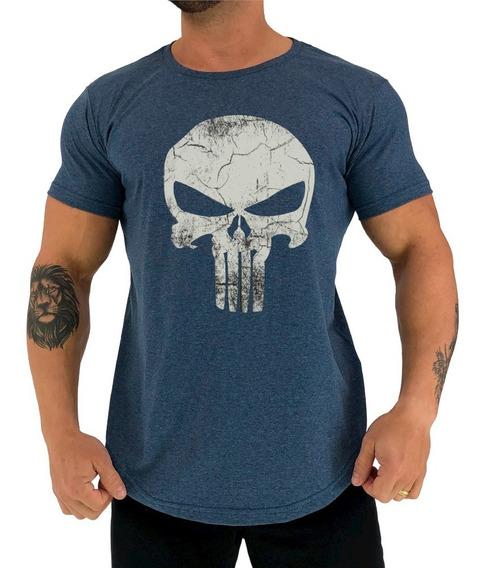 Camiseta Longline Justiceiro Punisher Militar Caveira