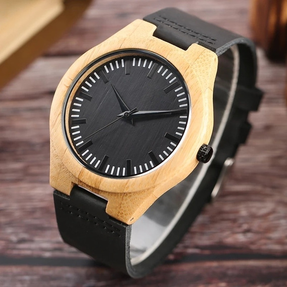 Relógio De Pulso Unissex Em Madeira De Bambu .