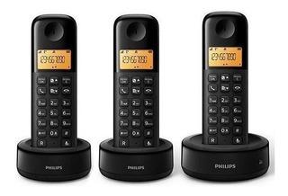 Teléfone Sem Fio Philips D1303b 3 Aparelhos Preto