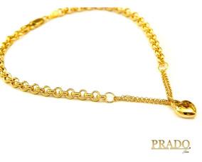 Pulseira Portuguesa Em Ouro 18k Com Pingente Coração