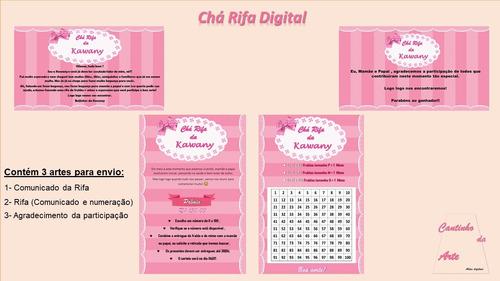 Convite Chá Rifa Virtual - Rosa