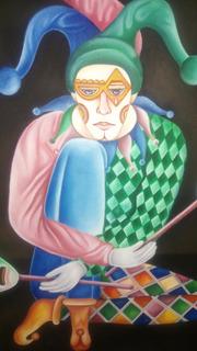 Pintura Al Oleo (arte) Arlequín Pintor Mexicano