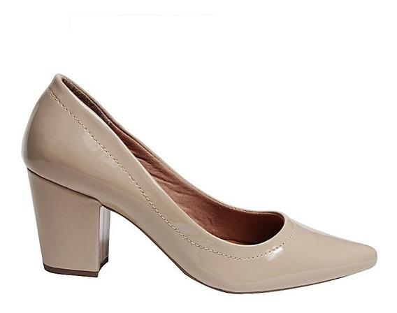 Sapato Scarpin Saltoalto Grosso Verniz 7cm Preto Nude