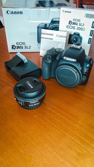 Câmera Canon Eos Sl2 200d Wifi + Lente Canon 24mm 2.8 Stm