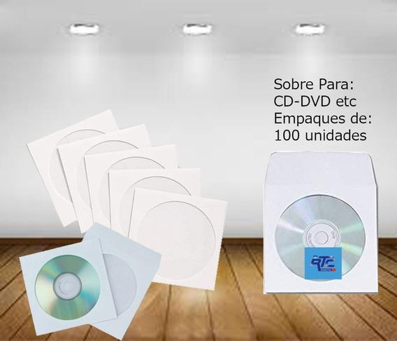 Sobres Para Cd Blanco Y De Colores ( 100 Unidades )