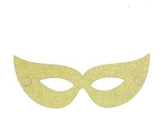 Antifaz Papel Dorado Glitter - Bolsa X 4 Unidades