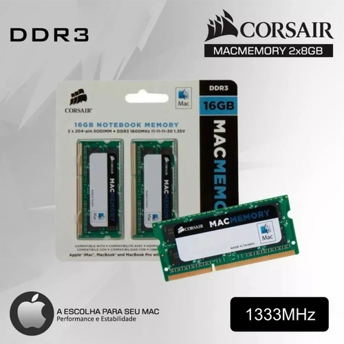 Kit 16gb Memoria Ram  Ddr3 1333 (2x8) Mac Corsair Notebook