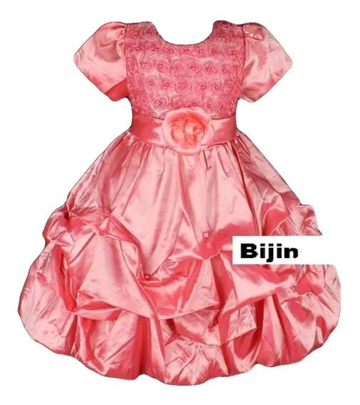 Vestido Infantil Festa Roxo Salmão Em Tafeta Flores