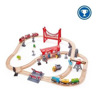 Tren Circuito Ciudad Juego Juguete Hape Madera Trenes 3y+
