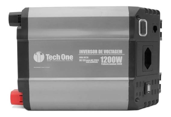 Inversor De Potência Tech One 1200w 12v Para 220v - Tomada