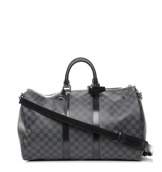 Mala Keepall 45 Damier Graphite Bandouliere Louis Vuitton Couro Legítimo Premium Top Com Código Série Acompanha Alça