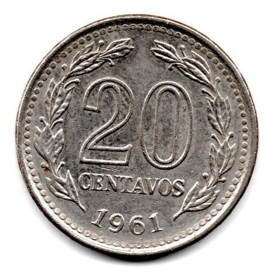 Argentina Moneda 20 Centavos Año 1961 Cj#267 Escasa Dificil