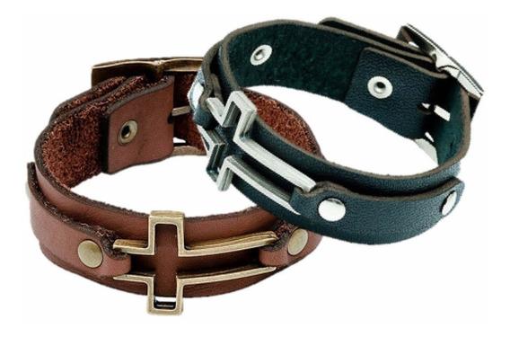 Pulseira Masculina Couro Cruz Vazada Bracelete Preto /marrom