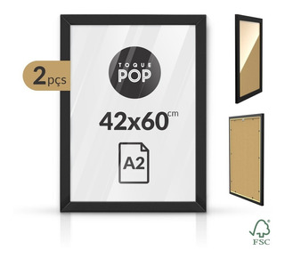 Quadro Grande Moldura A2 60x42 Poster C/ Vidro 1ªlinha Kit 2