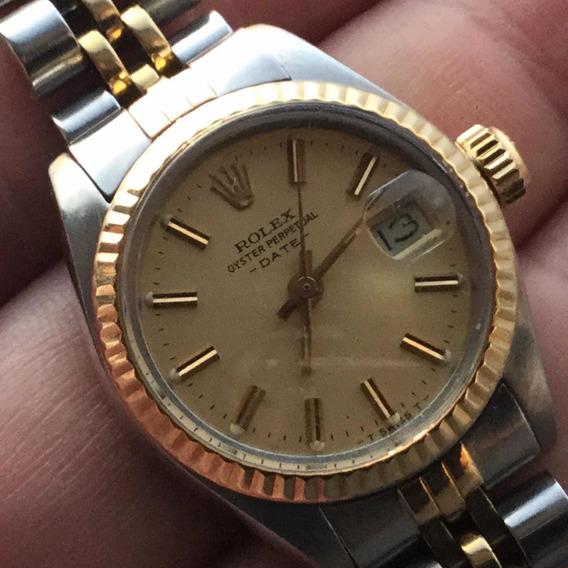 Relógio De Dama Rolex Oyster Perpetual Ouro18k Aço Original