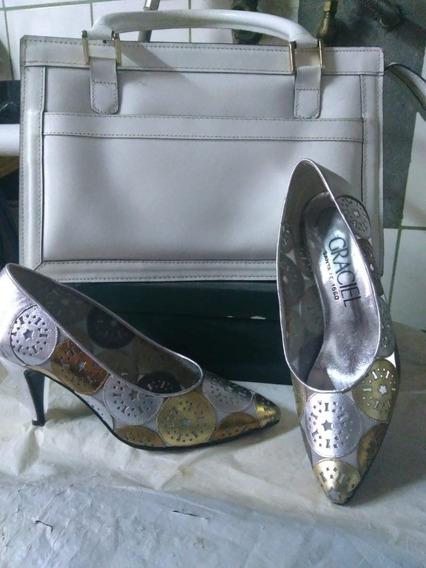 Zapatos De Dama Numero 35 Con Cartera De Cuero Blanco